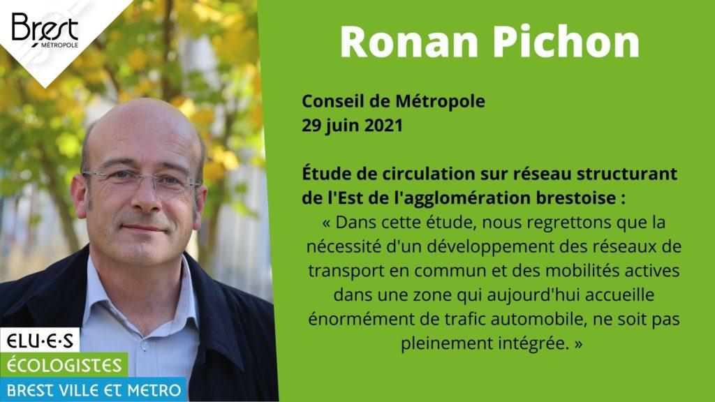 Ronan Pichon est intervenu en Conseil de Métropole sur l'opportunité d'aménagement du réseau routier de Brest