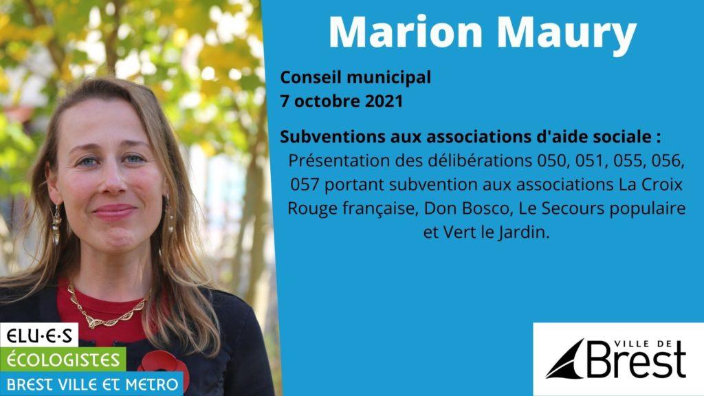 Subventions aux associations d'aide sociale - Marion Maury