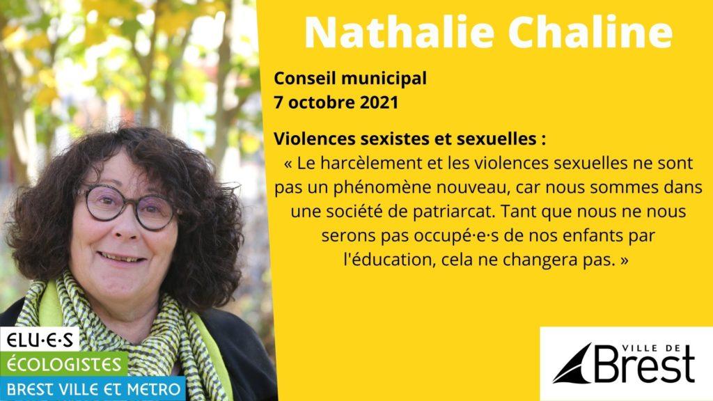 Intervention de Nathalie Chaline sur les violences sexistes et sexuelles en Conseil municipal